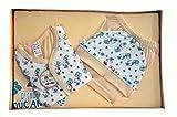 BelleGirl 100% Cotton New Born Gift Set of 4 Pcs Premium Cream 0-3M
