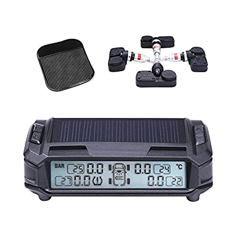 Masione TPMS Solar Power Tire Pressure Monitoring System Monitor with 4 Internal Sensors Wireless LED Display Pressure and Temperature Intelligent Built-in Visual and Audio Alarm