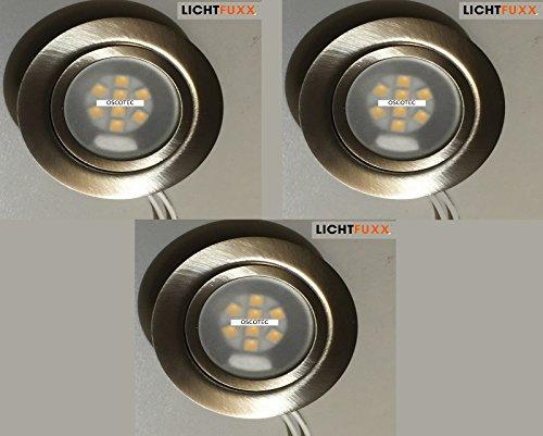 3x LICHTFUXX Downlight G4 Deckeneinbaustrahler / Möbeleinbaustrahler; inkl. Niedervolt LED-Leuchtmittel 10-30V DC, Fassung G4 integriert; 3er Set Möbeleinbaustrahler Downlights max.20 Watt G4 in Edelstahl gebürstet