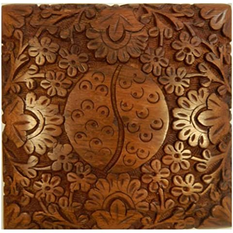 Caja de madera Yin Yang 13x13cm Fine Carving tallada grabada almacenamiento