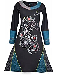 Hiver la robe à manches longues des femmes avec broderie de fleurs