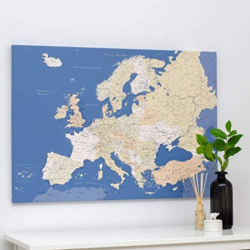 Europa Karte mit Pins- Leinwand Karte Pinnwand Stecknadel- Detailliert Europakarten Kork Zum Markieren - Kunstdruck auf Echtholz Keilrahmen - 3 Größen zur Auswahl - Blau