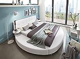 SAM Polsterbett 160x200 cm, weiß, pflegeleichtes Rundbett mit Kunstlederbezug, abgestepptes Kopfteil, Bett mit Nachttischen [520950]