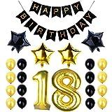 """18. Geburtstag Party Dekoration Set, Happy Birthday Banner, """"18"""" Golden Ballon, Latex- und Sternfolie-Ballon, Perfekt für die Vorbereitung der 18. Geburtstagparty"""