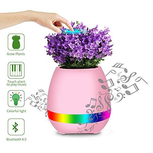 Smart Pot Música, Easy Eagle K3 Inalámbrico Altavoces LED Bluetooth Touch Planta Puede Reproducir El Pot De Flores De Piano Con Luz De Noche LED De Color Nuevo Regalo de Cumpleaños (Rosa)