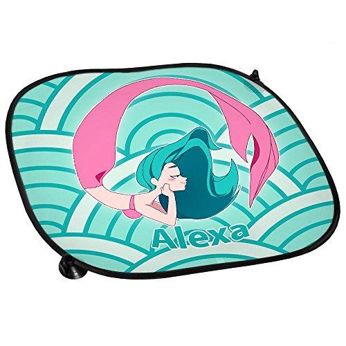 Preisvergleich Produktbild Auto-Sonnenschutz mit Namen Alexa und Motiv mit Meerjungfrau für Mädchen | Auto-Blendschutz | Sonnenblende | Sichtschutz