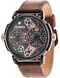 Policía Steampunk reloj de hombre de cuarzo con Esfera Marrón Pantalla Analógica y correa de piel color marrón 14693jsb/12A