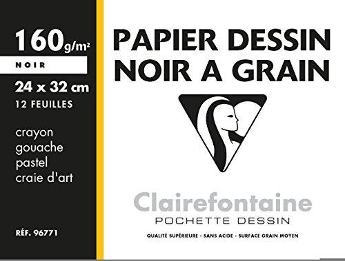 Clairefontaine 96771C Mappe Zeichenpapier (160 g, 24 x 32 cm, 12 Bögen, ideal für Kunstunterricht) schwarz (Bogen Tasche Seide)