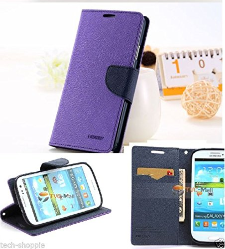 Mercury Fancy Wallet Style Flip Carry Case Cover for Samsung Galaxy Grand 2 G7106 G7102 Grand2 - Purple (only for grand2)