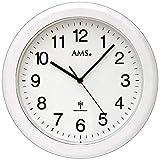 AMS AMS - Wanduhr - Baduhr - Badezimmeruhr - Funkuhr - Funkwanduhr - weiß - rund - wasserdicht
