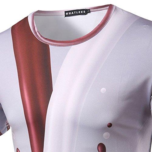 Whatlees Herren Hip Hop Slim Fit T-Shirt mit Bunt 3D Farbspritzer Druck Muster B053-35