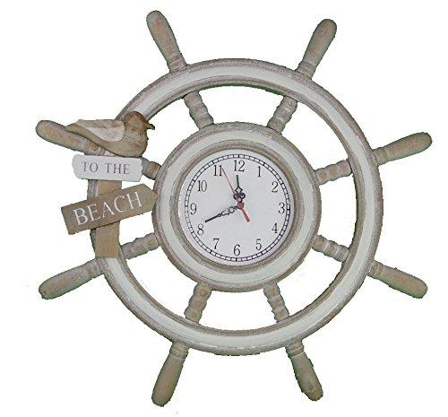 Steuerrad mit Uhr aus Holz / Serie to the Beach / Durchmesser 48 cm / Nautic / Nordsee -