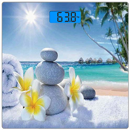 Digitale Präzisionswaage für das Körpergewicht Platz Spa-Dekor Ultra dünne ausgeglichenes Glas-Badezimmerwaage-genaue Gewichts-Maße,Spa-Behandlung am tropischen Strand Sunshines Palm Trees Bungalows H -
