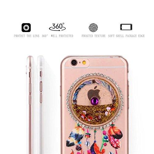 Glitzer iPhone 6S Plus Hülle, MOMDAD Transparent Glitter TPU Flüssig Fließen Quicksand Liquid Treibsand Schutzhülle für iPhone 6S Plus / 6 Plus Handyhülle Traumfänger Dreamcatcher Wind Chime Campanula Gold