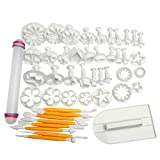 Uten fondant cake Decorating Sugarcraft Plunger Cutters Icing Modelling Tool kit set con mattarello, emolliente Goffratrice muffa Tools 46pcs