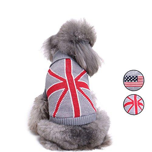 2Mustern Amerikanische Flagge Strick Hund Pullover, Urlaub Strickwaren Oberbekleidung Haustier Kleidung, Hund Weste Bekleidung für kleine Hunde von hongyh (Grün-reversibel-t-shirt)