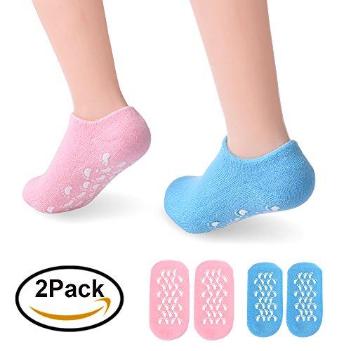 Pretty See Calcetines Humectantes Calcetines Humectantes en gelSuavizan la Piel de los pies con Aceite Esencial 2 Pares, Azul y Rosa
