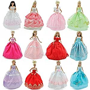 Set of 5 Randomly Selected Barbie Sindy sized doll's ball gown evening wedding fairy dresses- posted from London by Fat-Catz