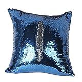 Nuolux DIY Überwurfkissen mit Glitzer-Pailletten und Bezüge, zweifarbig, Farbwechsel, Maßstab Euro, Deko blau