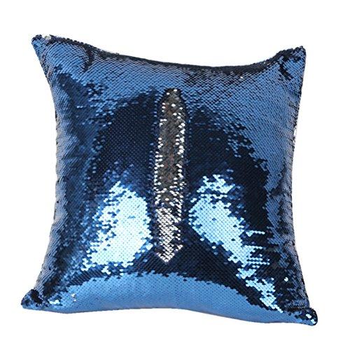 NUOLUX DIY-Two Tone Glitzer Pailletten Wurfkissen Fällen und Abdeckungen Farbwechsel Skala Euro dekorative Hause Kissen Sofa Kissenbezug (blau) (Dekorative Kissen-abdeckungen Blau)