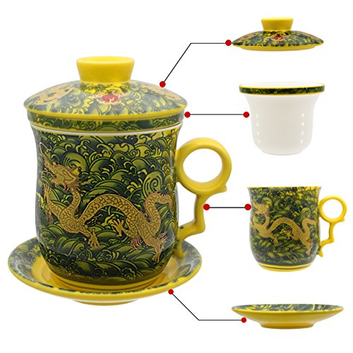 hollihi Porzellan Teetasse mit Deckel und Untertasse-Ei Sets – Chinesischer Jingdezhen Keramik Kaffee Tasse Teetasse Loose Leaf Tea Brewing System für Home Office (Coca-cola-flaschen Deckel)