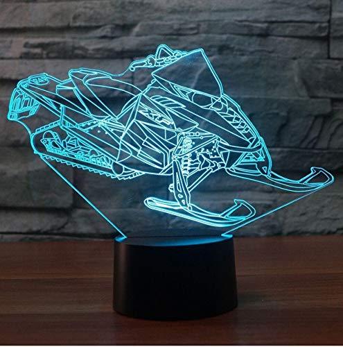 Nachtlicht 3D Led Ski Schnee Maschine Nachtlicht Usb Touch-Taste Tischlampe 7 Farbwechsel Schneemobil Auto Dekoration Nachttischlampe Geschenk