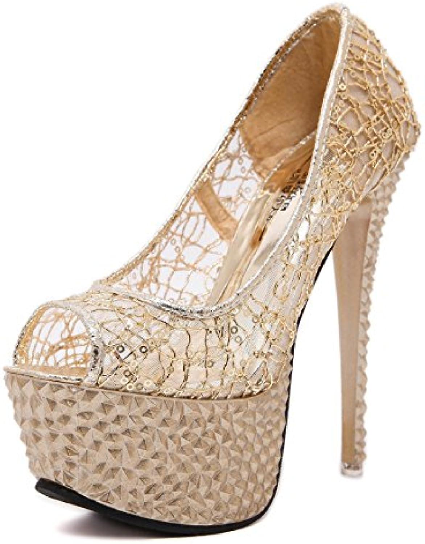 XiaoGao Zapatos de encaje vestido de noche de 15 cm de alto sandalias de tacon zapatos de boda,Golden -
