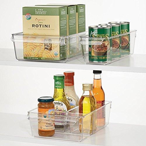 mDesign 3-teiliges Aufbewahrungsbox-Set - ideal zur Küchen Ablage, im Küchenschrank oder als Kühlschrankbox - 3 Größen - offenes Design mit integrierten Griffen - aus Kunststoff - durchsichtig