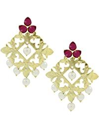 The Jewelbox Statement Large Filigree Flower Pearl Antique Gold Plated Chandelier Earring For Women