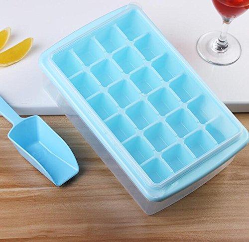 Ice Cube Formen, 24 Gitter mit Deckel Eisbox Eisbox, kreative EIS-Boxen, Eisschaufel Eishockey, Eiswürfel zu senden, (2 Stück) (Farbe : Blau)