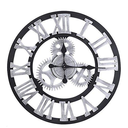 Reloj de Pared, decoración de Madera del Vintage del Engranaje Grande Hecho a Mano rústico del Reloj de Pared 3D para la Sala de Estar/la Oficina/la Barra(Plata 80 cm)