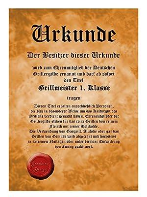 Herren Grill-Schürze Bayer-Model Mann Alpen Six-Pack Fun Koch-Schürze Küchen-Schürze geil bedruckt Geschenk-Set mit Grillmeister-Urkunde