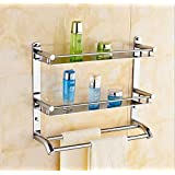Welson Stainless Steel Double Layer Shelf with Towel Road,Multipurpose Bath Shelf Organizer,Kitchen Shelf/Towel self…