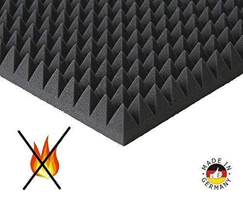 Pyramiden -Schaumstoff SELBSTKLEBEND- Flammhemend MVSS302 Schallschutz-Schaumstoff Noppenschaum (Ohne Selbstklebend, ca. 50x50x5cm)