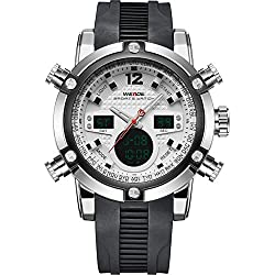 WEIDE Men's Sport Military Analogue Digital Quartz Rubber Watch with Dual Time Auto Date (White)