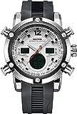 Weide Herren-Armbanduhr mit Dual Time Gummi Sport Military Analog Digital Quarz Auto Datum (weiß)