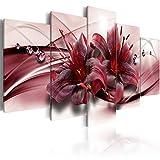 murando - Bilder 100x50 cm Vlies Leinwandbild 5 TLG Kunstdruck modern Wandbilder XXL Wanddekoration Design Wand Bild - Blumen Lilien b-C-0155-b-n