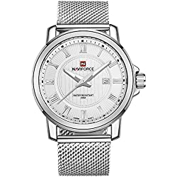 NAVIFORCE Men's Business Classic Stainless Steel Analogue Quartz Watch (White)