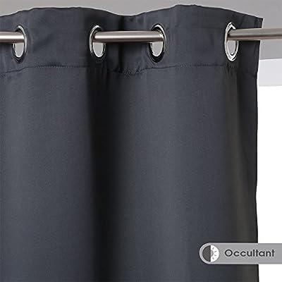 Conjunto de 2 cortinas opacas con ojetes de color GRIS OSCURO