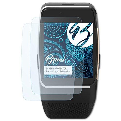 Bruni Schutzfolie für MyKronoz ZeWatch 4 Folie, glasklare Displayschutzfolie (2X)