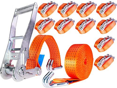 INDUSTRIE PLANET 10 Stück 5000kg 6m Spanngurte mit Ratsche und Haken 2 teilig zweiteilig Zurrgurte Ratschengurte 50mm 5000 daN 5t