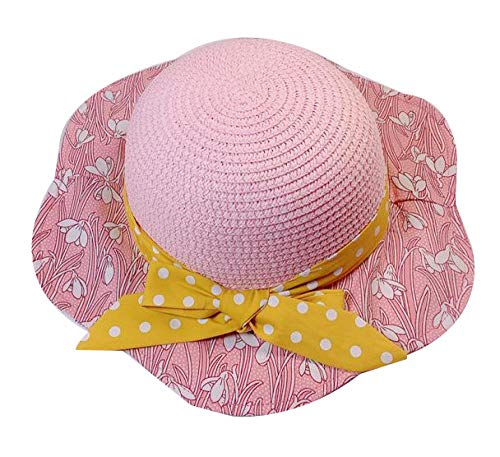 t Sommer Mädchen Sonnenhut Baby Bogen Visier Fischer Hut Seaside Travel Sunscreen Beach Hat @ Pink ()