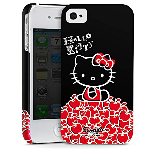 DeinDesign Apple iPhone 4 Hülle Premium Case Cover Hello Kitty Merchandise Fanartikel Black