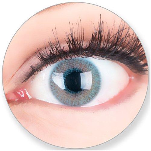 Blaue Kontaktlinsen Ohne Stärke - Braune Dunkelbraune Schwarze Dunkle Augen - mit Kontaktlinsenbehälter. 2 Farbige Azur Blau 3 Monatslinsen by MeralenS/Glamlens