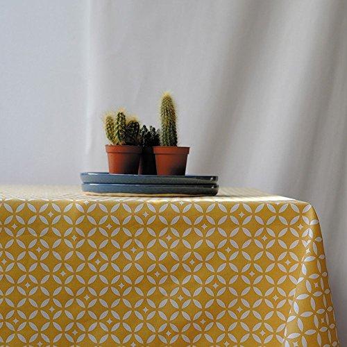 Fleur de Soleil N160EMOSJ Nappe carrée anti-tache imperméable Coton/Coupe franche Mosaïque/Jaune 160 x 160 x 0,2 cm