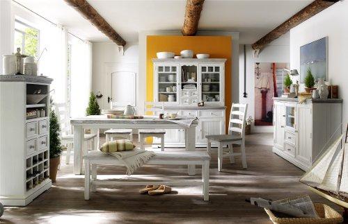 Dreams4Home Highboard massiv ' Juno ' 3 türig, in antik weiß , Wohnzimmer, Esszimmer, Massivholz, Kommode - 3