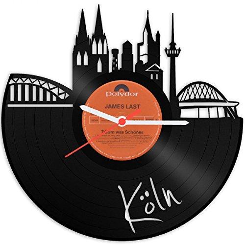 GRAVURZEILE Wanduhr aus einer echten Schallplatte - Wähle eine Stadt - 30cm Groß lautloses Uhrwerk - Schallplattenuhr, ideale Geschenkidee Farbe Köln