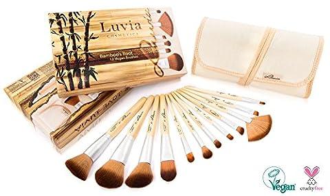 Luvia Cosmetics – Bamboo's Root - Make-Up Pinsel Set aus nachhaltigem Bambus mit 12 Pinseln und praktischer Aufbewahrungstasche aus Leinen – Echtes Taklon Haar - Vegan und für Tierhaarallergiker geeignet