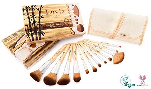 LUVIA Cosmetics LC de Br de Br de 01 Kit pinceaux de maquillage de végétalien – 12 Pinceaux en kit avec véritable Poignées de bambou et élégante Pouch pour les peaux sensibles