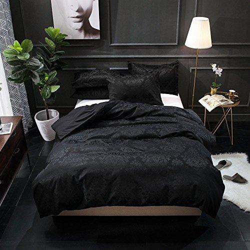 enzahl Baumwollsatin gewebten Jacquard Bettbezug Set, baumwolle, schwarz, Queen ()